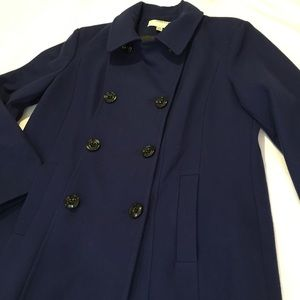 Anne Klein XXL Dark Blue Wool Mix Pea Coat